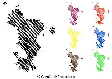 Mayotte island map vector illustration, scribble sketch ...