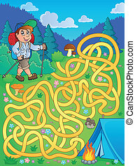 Maze 1 with hiker outdoor - eps10 vector illustration.