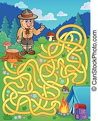 Maze 1 with scout boy - eps10 vector illustration.