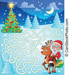 Maze 12 with Santa Claus and deer - eps10 vector...