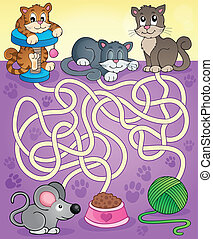 Maze 13 with cats - eps10 vector illustration.
