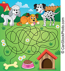 Maze 14 with dogs - eps10 vector illustration.