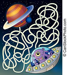Maze 15 with flying saucer - eps10 vector illustration.