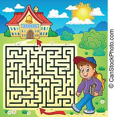 Maze 3 with schoolboy - eps10 vector illustration.