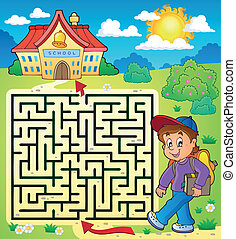 Maze 3 with schoolboy - eps10 vector illustration.