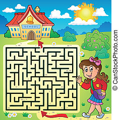 Maze 3 with schoolgirl - eps10 vector illustration.