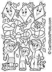 Maze 9 coloring book with children - eps10 vector illustration.