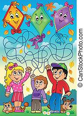 Maze 9 outdoor children with kites - eps10 vector...