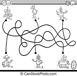 maze activity coloring book - Black and White Cartoon...