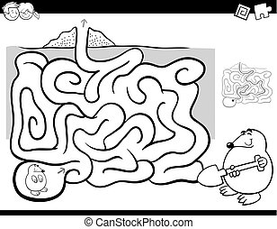 maze activity coloring book wit mole animal - Black and...