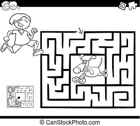 Black and White Cartoon Illustration of Education Maze or Labyrinth Game for Children with Little Boy and his Dog Coloring Page