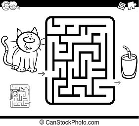 maze activity game with cat and milk - Black and White...