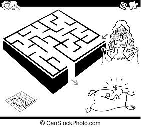 maze activity game with cinderella - Black and White Cartoon...