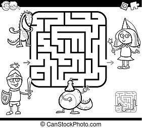 maze activity game with fantasy characters - Black and White...