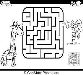 maze activity game with giraffe and palm - Black and White...