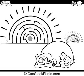 maze activity game with sleeping bear - Black and White...