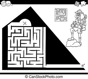 maze activity game with traveler and pyramid - Black and ...