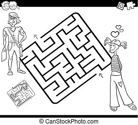 maze activity game with young couple - Black and White...