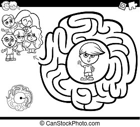 maze activity gtame with children - Black and White Cartoon...