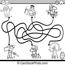 maze activity task coloring book - Black and White Cartoon...