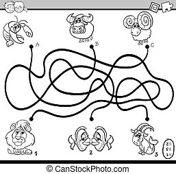 maze activity task for coloring - Black and White Cartoon...