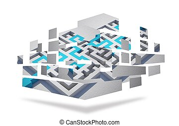 Maze and arrow on abstract screen