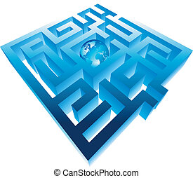 Maze and planet - Maze with planet in centre. Vector...