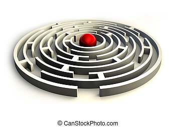 maze circles and red ball in the center of the labyrinth