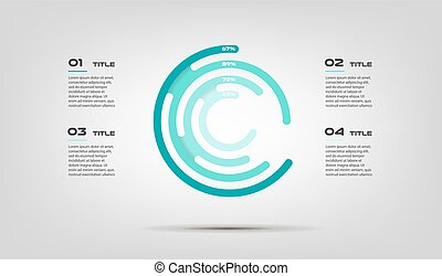 Maze circular chart color infographics step by step in a series of labyrinth. Element of graph, diagram with 4 options - parts, processes. Vector business template for presentation
