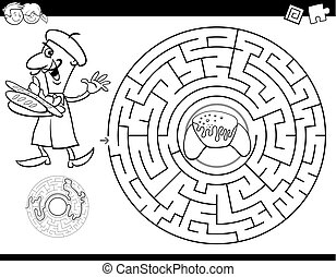 maze color book with baker and croissant - Black and White ...
