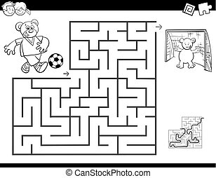 maze color book with bear playing soccer - Black and White...