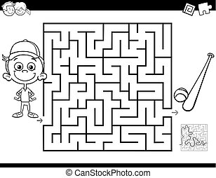maze color book with boy and baseball - Black and White...