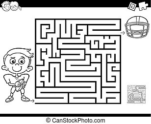 maze color book with boy and football - Black and White...