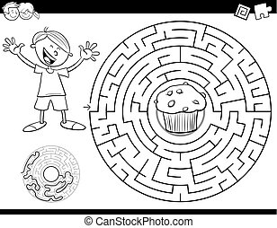 maze color book with boy and muffin - Black and White ...