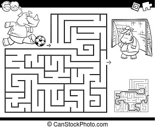 maze color book with rhino playing soccer - Black and White...