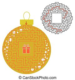 Maze color Christmas toy. Game for kids. Puzzle for children. Find the path to the gift. Labyrinth conundrum. Flat vector illustration isolated on white background. With the answer.
