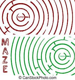 maze concept, round composition; abstract vector art...