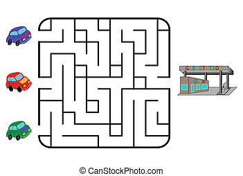 Maze game for children. Find the way for car to gas station....