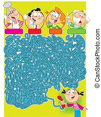 In vector illustration a maze puzzle in which you must decide who the girl is calling