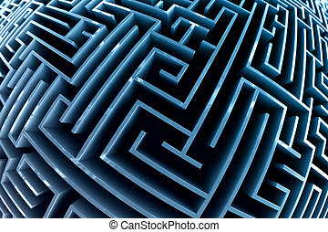 Fisheye style picture of a maze with blue walls.