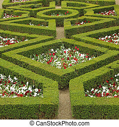 maze flowerbed in Boboli Gardens in Florence,Unesco World...
