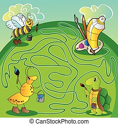 Maze for children - help the turtle, ant, bee get to paints and brushes for painting