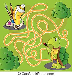 Maze for children - help the turtle get to paints and brushes for painting