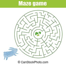 Maze game animals theme. Help rabbit find grass. Activity for children and kids