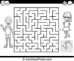 Black and White Cartoon Illustration of Education Maze or Labyrinth Activity Game for Children Coloring Book