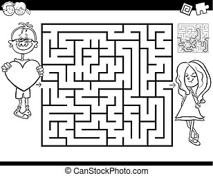 Black and White Cartoon Illustration of Education Maze or Labyrinth Activity Game for Kids with Boy in Love and Girl Coloring Book