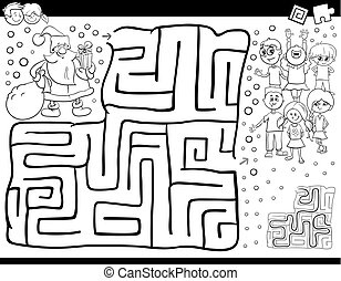 maze game color book with Santa Claus - Black and White...