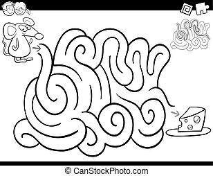 Black and White Cartoon Illustration of Education Maze or Labyrinth Activity Game for Children with Mouse and Cheese Coloring Page