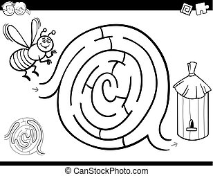 maze game coloring book with bee and hive - Black and White...