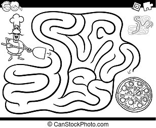 maze game coloring book with chef and pizza - Black and...